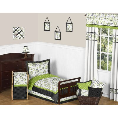 Sweet Jojo Designs Lime and Black Spirodot Toddler Bedding Collection