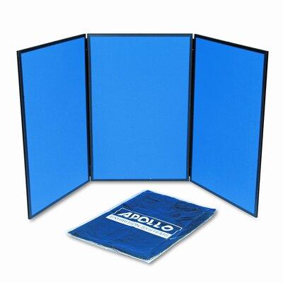 Quartet® ShowIt Three-Panel Display System, Fabric, Blue/Gray, Black PVC Frame
