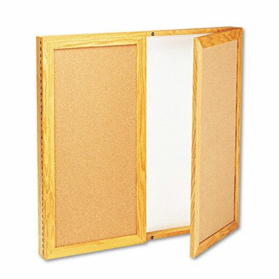 Quartet® Conference Cabinet Enclosed Bulletin Board, 3' x 3'