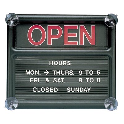 "Quartet® Open/Closed Sign, 318 Characters for Custom Msgs, 14""x12"", Black"