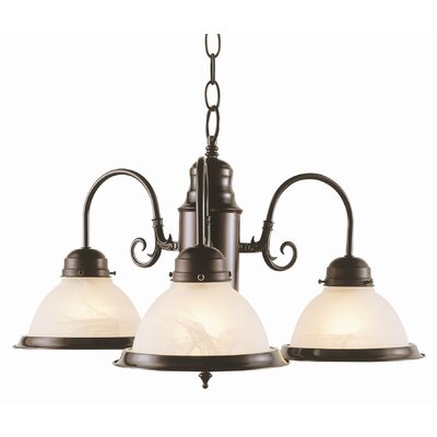 Back To Basics 3 Light Builder Chandelier with Marbleized Glass Shades by TransGlobe Lighting