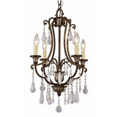 Crystal Flair 4 Light Chandelier with Crystal Accents by TransGlobe Lighting