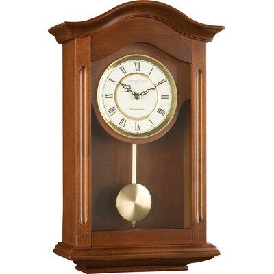 antique pendulum wall clock dark brown wooden walnut