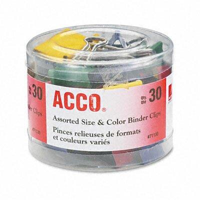 Acco Brands, Inc. Binder Clips, Steel Wire, 1/2, 3/4, 1-1/2, Asst. Colors, 30/Pcs