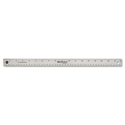 """Acme United Corporation Westcott Stainless Steel office Ruler with Non Slip Cork Base, 18"""""""
