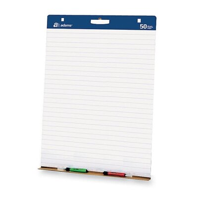 "Adams Business Forms Easel Pads,w/Carry Handle, White, 1"" Lined Ruling, 50 Sheets per Pad, 2 Pads"