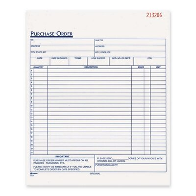 """Adams Business Forms Purchase Order Book, Carbonless, 2-Part, 8-3/8""""x10-11/16"""", White"""
