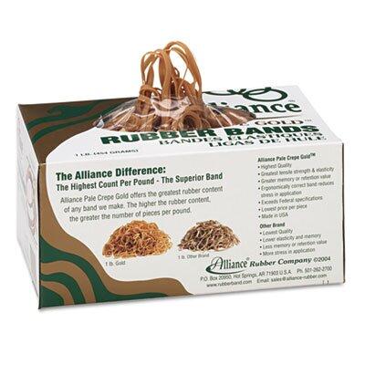 Alliance Rubber Pale Crepe Gold Rubber Bands, Size 19, 3-1/2 x 1/16, 1lb Box