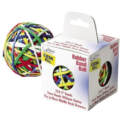 """Alliance Rubber Rubber Band Ball, 2"""", 250 Bands, Assorted"""