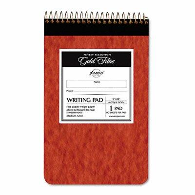 AMPAD Corporation Gold Fibre Retro Writing Pad, Medium Rule, 5 x 8, Ivory, 80-Sheets/Pad