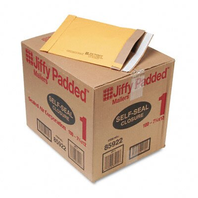 Sealed Air Corporation Jiffy Padded Self-Seal Mailer, Side Seam, #1, Golden Brown, 100/carton