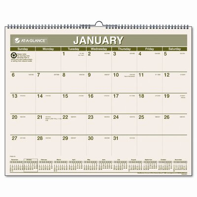 At-A-Glance Recycled Monthly Wall Calendar, 12 Month (Jan-Dec), 15 x 12