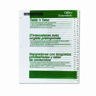 Avery Consumer Products Office Essentials Office Essentials Table 'N Tabs Dividers, 31-Tab, 1-31, Letter, 1 Set