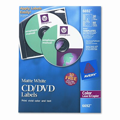 Avery Consumer Products Laser CD/DVD Labels, 30/Pack