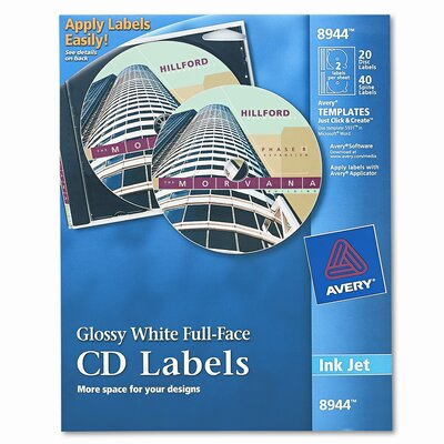 Avery Consumer Products Inkjet Full-Face Cd Labels (20/Pack)