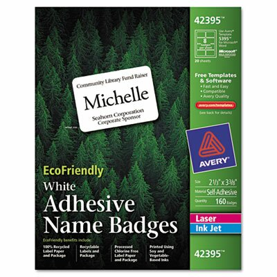 Avery Consumer Products Ecofriendly Name Badge Labels, 160/Box