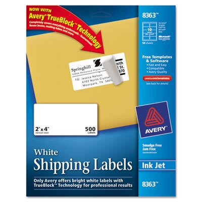 Avery Consumer Products Shipping Labels with Trueblock Technology, 500/Box