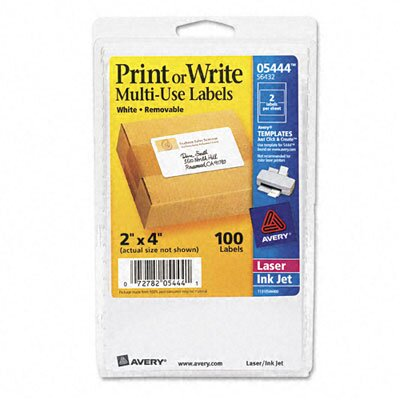 Avery Consumer Products Print or Write Removable Multi-Use Labels, 100/Pack