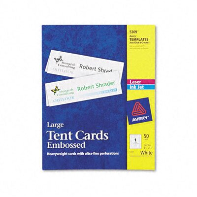 Avery Consumer Products Tent Cards, 1 Card/Sheet, 50 Cards/Box
