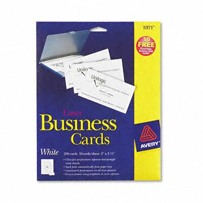 Avery Consumer Products Laser Business Cards, 10 Cards/Sheet, 250/Pack