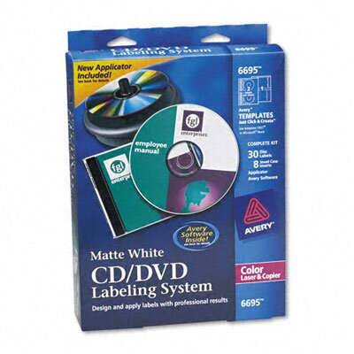 Avery Consumer Products CD/DVD Design Kit, 30 Laser Labels and 8 Inserts
