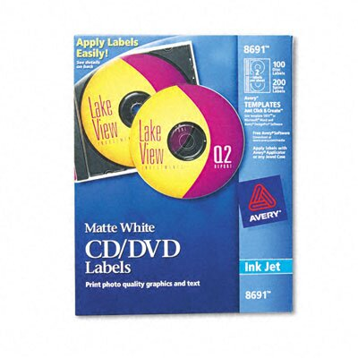 Avery Consumer Products Inkjet CD/DVD Labels (100/Pack)