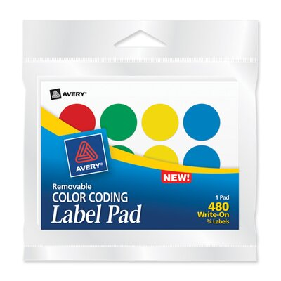 "Avery Consumer Products Color-coding Labels, 3/4"" Round, 480 Labels, Assorted"