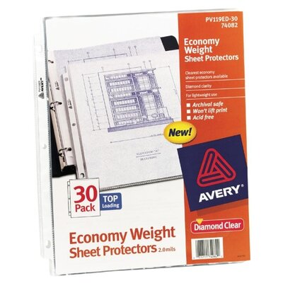 """Avery Consumer Products Sheet Protectors, Top Load, Polypropylene,for 8-1/2""""x11"""" Sheets., Clear"""