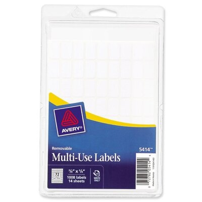 "Avery Consumer Products Removable Multipurpose Labels,3/8""x5/8"", 1008 per Pack, White"