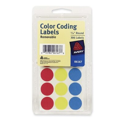 "Avery Consumer Products Color Coding Labels, 3/4"" Dia., Removable, 306 per Pack, Assorted"