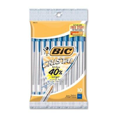 Bic Corporation Stic Ballpoint Pen,Medium Point,10/PK,Blue Ink/Clear Barrel
