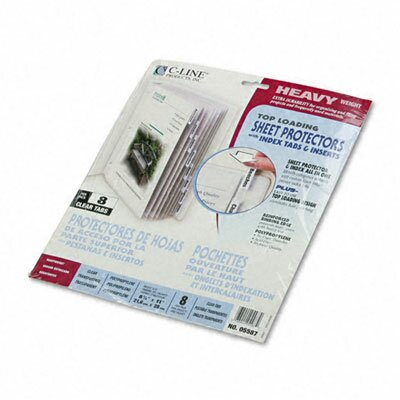 C-Line Products, Inc. Polypropylene Sheet Protectors with Index Tabs (8/Set)