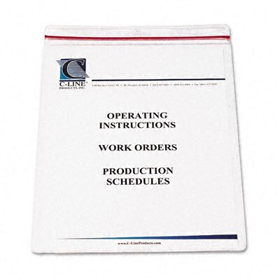C-Line Products, Inc. Industrial Zipper Seal Shop Ticket Holders, 8 1/2 X 11 (15/Box)