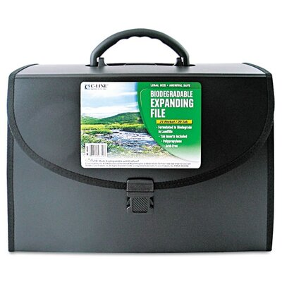 C-Line Products, Inc. 21-Pocket Legal Size Expanding File with Handle, Black, 1/EA