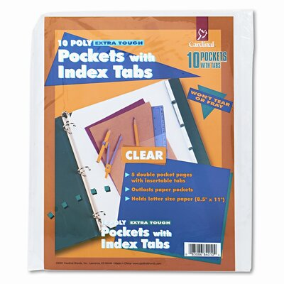 Cardinal Brands, Inc Ring Binder Divider Pockets with Index Tabs, 8-1/2 X 11 (5/Pack)