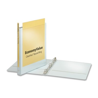 "Cardinal Brands, Inc EconomyValue ClearVue Round-Ring Binders, Non-locking, 5/8"" Capacity, White"