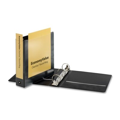 """Cardinal Brands, Inc EconomyValue ClearVue Round-Ring Binders, Non-locking, 2"""" Capacity, Black"""