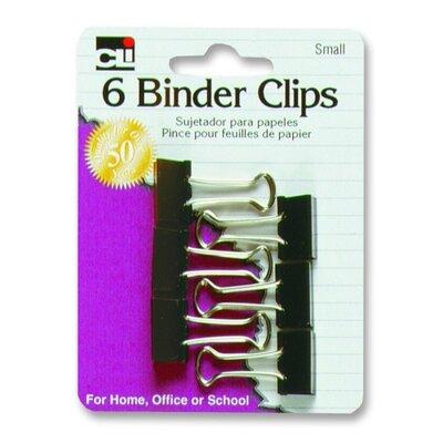 "Charles Leonard Co. Binder Clips, Small, 3/4"", 6/PK, Black/Steel"