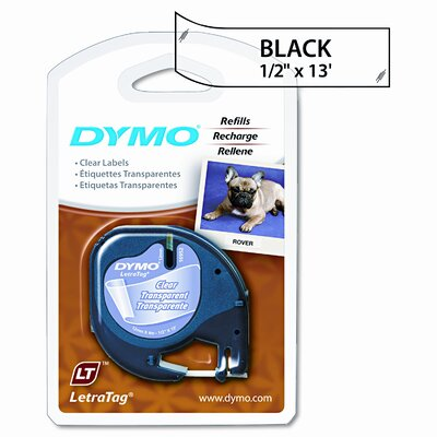 Dymo Corporation Letratag Tape Cartridge, 1/2in x 13ft, Clear Plastic Tape