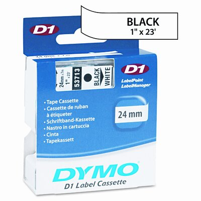 """Dymo Corporation 53713 D1 Standard Tape Cartridge for Label Makers, 1"""" x 23'"""