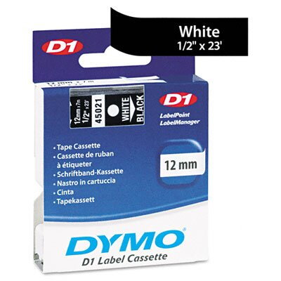 """Dymo Corporation D1 Standard Tape Cartridge for Label Makers, 0.5"""" x 23'"""