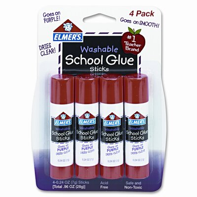 Elmer's Products Inc Washable School Glue Sticks, Disappearing (4 Pack)