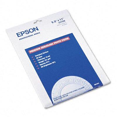 Epson America Inc. S041331 Premium Photo Paper, 68 Lbs., 8-1/2 X 11, 20 Sheets/Pack