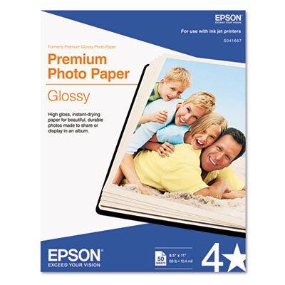 Epson America Inc. S041667 High-Gloss Premium Photo Paper, 50 Sheets/Pack
