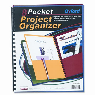 Esselte Pendaflex Corporation Oxford Elegant Stripe Eight-Pocket Organizer, Embossed Leather Grain