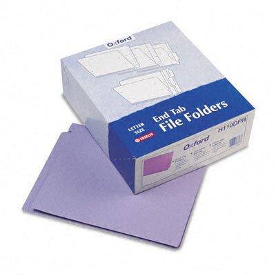 Esselte Pendaflex Corporation Reinforced Two-Ply Folders, Straight Cut, End Tab, Letter, Purple, 100/Box