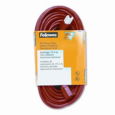 Fellowes Mfg. Co. Indoor/Outdoor Heavy-Duty 3-Prong Plug Extension Cord, 1 Outlet, 50-Ft.