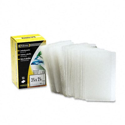 Fellowes Mfg. Co. Laminating Pouch, 10 Mil, Business Card Size, 100/Pack