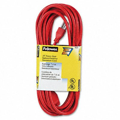 Fellowes Mfg. Co. Indoor/Outdoor Heavy-Duty 3-Prong Plug Extension Cord, 1 Outlet, 25-Ft.