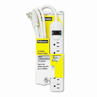 Fellowes Mfg. Co. Six-Outlet Plastic Power Strip, 120V, 6Ft Cord